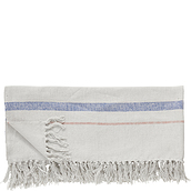 Hübsch Plaid white and blue tassels
