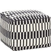 Hübsch Pouf square black and white