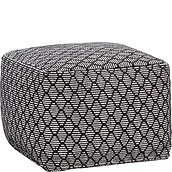 Hübsch Pouffe square black-white