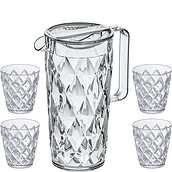Crystal Pitcher with four glasses