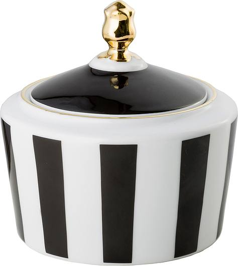 Stripes Sugar bowl black